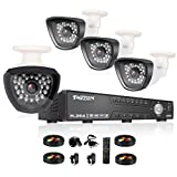 TMEZON AHD防犯カメラ4台セット 130万画素 赤外線LED30個 3.6MMレンズ&AHD 1080Nレコーダー HDDなし