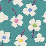 【綿二重ガーゼ・ダブルガーゼ プリント】花畑牧場(9)(Wガーゼ ヴァージョン) 3色あります 1m単位で切り売りいたします (ターコイズ系)