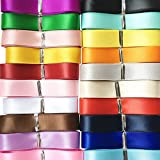 """Chenkou Craft 20Yards Double Sided Face Polyester Satin Ribbon Ribbons Assorted of 20 Colors 3/8"""" 10mm Craft Pack Hair Bow Je"""