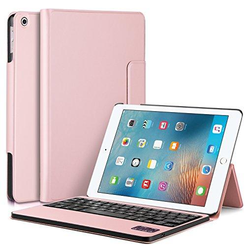 IVSO iPad Pro 10.5インチ ケース,APPLE iPad Pro 10.5インチ キーボードカバー 開閉で自動的 PUレザーケース マグネット着脱可能iPad Pro 10.5インチ 専用 一体型Bluetoothワイヤレスキーボード ローズゴールド