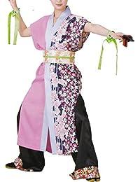 【よさこい衣装?袢纏?法被】おどり袢天 ピンク/紫 花柄 B460