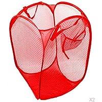 IPOTCH 2個入 洗濯袋 ランドリーバスケット メッシュ 衣類 着替え 収納ケース 便利 レッド