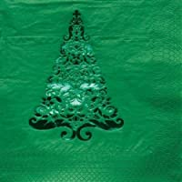 16-count Glitz Foil Stamped紙飲料ナプキン、グリーン