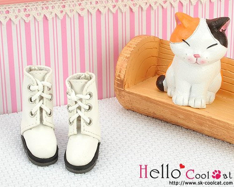 ドール用 coolcat 編上げシンプルショートブーツ ホワイト04-02