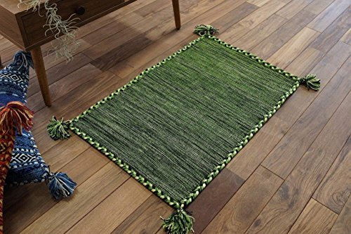 キリム調 玄関 マット 屋内 室内 用 ハンドメイド キーマ (50x80 cm グリーン)