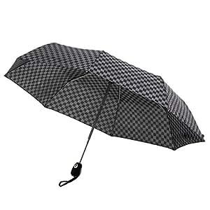 Amagoo (アマグー) ワンタッチ開閉 折りたたみ傘 風で傘が裏返っても元通りになる耐風仕様 市松柄 軽量素材 UV
