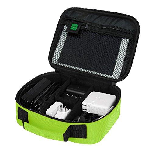 (バッグスマート)BAGSMART PC周辺小物用収納ポーチ ベルクロ式仕切り iPad Mini2収納可 グリーン