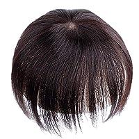 MILISI レディーズ部分ウィッグ 髪の毛を増やして 全手植え人毛かつら 小顔 簡単 3cm*4cm (ブラウン)