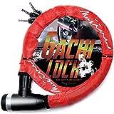 mujina バイクロック 22mm×1200mm 鍵3本セット ワイヤーロック (レッド)