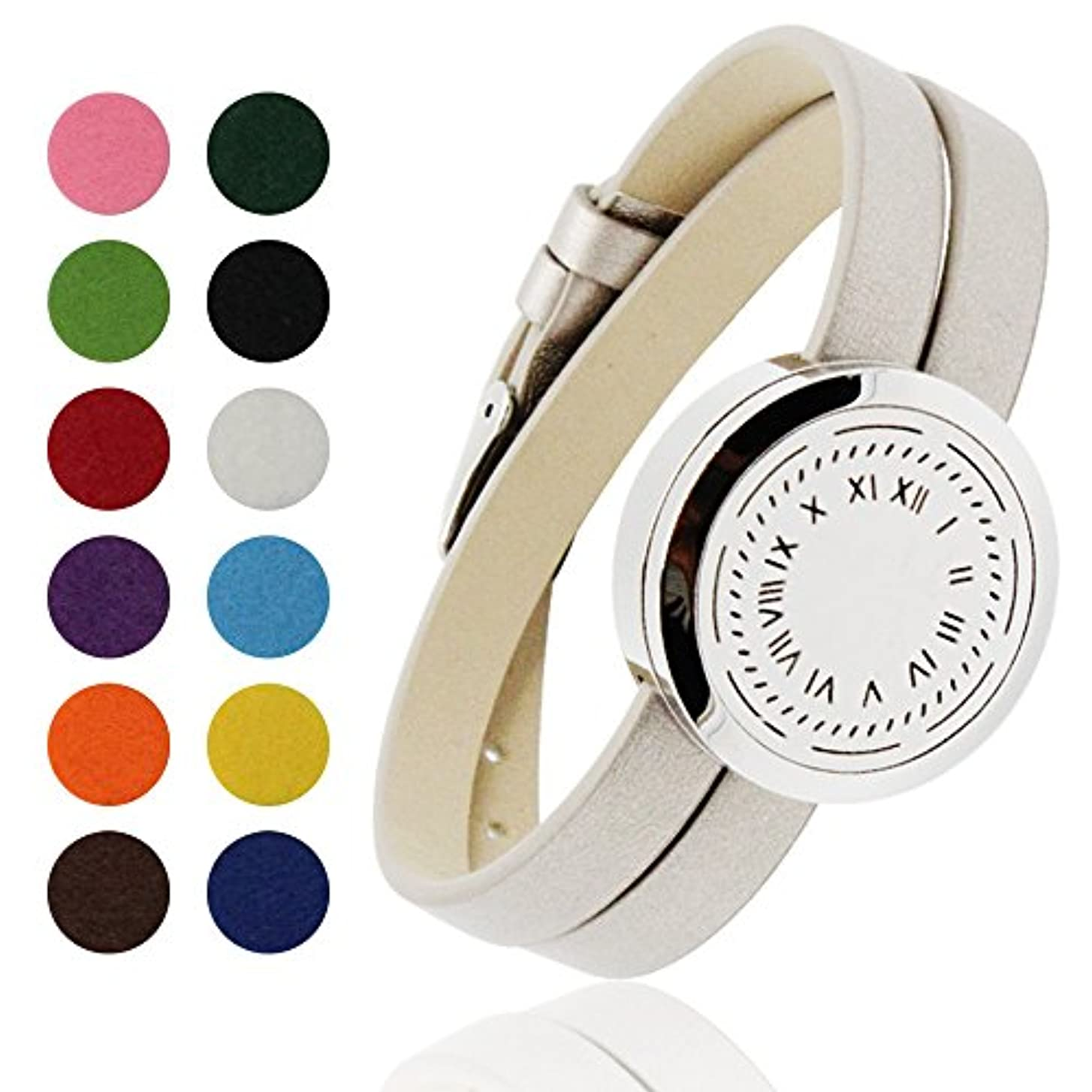 教育する恩恵評価するcoohaaステンレススチールファッションアロマ香りOil Diffuserブレスレットwith 12色パッド。。。