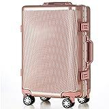 (トラベルハウス)TRAVELHOUSE 軽量アルミフレーム スーツケース キャリーケース キャリーバッグ TSAロック搭載 一年間修理保証 超軽量 フレーム L1602 (S, Aピンクゴールド)