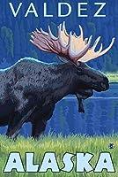 ムースat Night–Valdez、アラスカ 12 x 18 Art Print LANT-14229-12x18