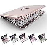 iPad Miniキーボードケース、elelcfan 7色LEDバックライト付きBluetoothワイヤレスキーボードケーススマートケースfor Ipad Mini 1/ Mini 2/ Mini 37.9インチ iPad Mini 1/iPad Mini 2/iPad Mini 3