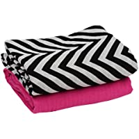 juDanzy 100% Cotton Muslin Swaddle Blankets Set of 2 Large 45X45 Baby Girl or Boy (Hot Pink & Black Chevron) by juDanzy