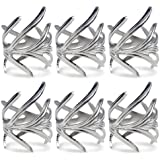 DII Napkin Rings for Weddings, Christmas, Holiday Parties, or Everyday Use, Set of 6, Silver Branch