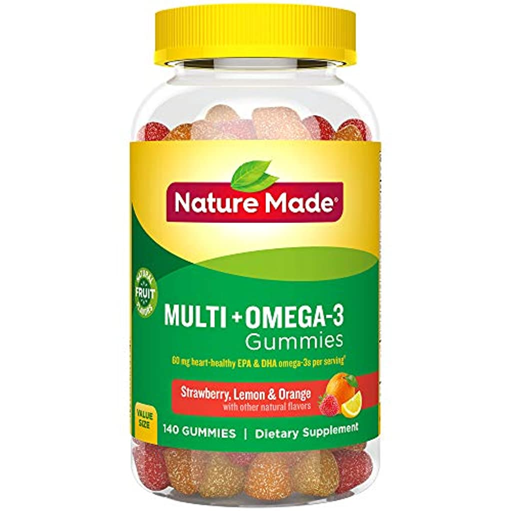 おそらく修道院すり減るNature Made Multi + Omega-3 Adult Gummies (60 mg of DHA & EPA per serving),140粒