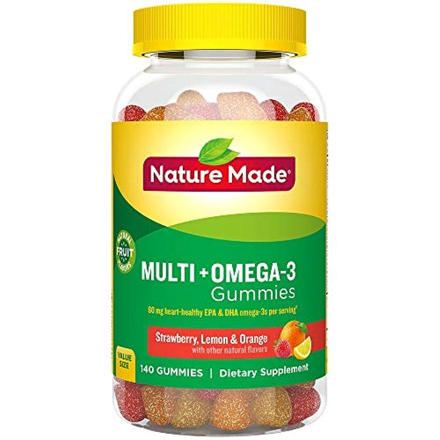 フルーティー机闇Nature Made Multi + Omega-3 Adult Gummies (60 mg of DHA & EPA per serving),140粒