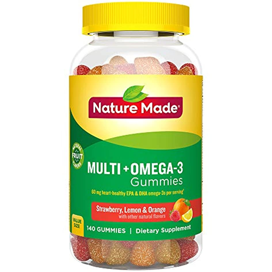 伝統的雑品丘Nature Made Multi + Omega-3 Adult Gummies (60 mg of DHA & EPA per serving),140粒