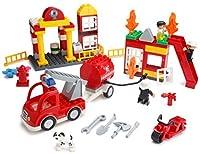 PlayBuild Fire Station Building Blocks Set - 86 Pieces - Includes Fire Department, Building, Fire Engine, Motorcycle, Firemen & Boy Minifigures, Dalmatian & Accessories -Compatible with DUPLO