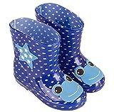 ange select キッズ 長靴 レイン ブーツ 動物 アニマル 柄 カラフル 子供 男の子 女の子 通園 通学 水遊び 梅雨 (ネイビー24)