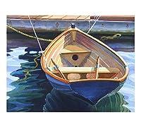 ブルーボート、A Nicely Painted木製Rowboat、15x 19インチ