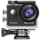 MUSON(ムソン) アクションカメラ 4K高画質 WiFi搭載 30M防水 1200万画素 170度広角レンズ 2インチ液晶画面 リモコン付き 高品質バッテリー2個【メーカー直販/1年保証付】 ドライブレコーダーとして使用可能 防犯カメラ スポーツカメラ ウェアラブルカメラ MC2 ブラック