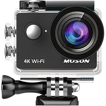 【進化版】MUSON(ムソン)アクションカメラ 4K高画質 手振れ補正 WiFi搭載 外部マイク対応 2000万画素 30M防水 [メーカー1年保] 170度広角レンズ 2インチ液晶画面 リモコン付き 高品質バッテリー2個 HDMI出力可能 ドライブレコーダーとして使用可能 防犯カメラ スポーツカメラ ウェアラブルカメラ MC2 Pro1 ブラック