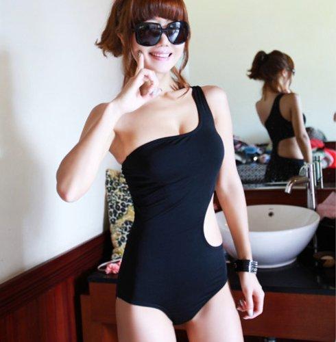 AYWS セクシー ワンショルダー ワンピース ビキニ モノキニ 水着 夏 ファッション ブラック (L)