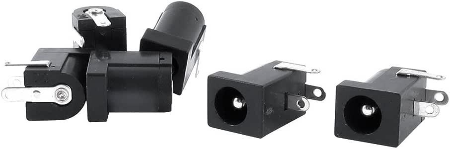 uxcell DC電源ジャック ソケットコネクタ メス 3ピン基板実装  5.5 x 2.1mm  6個入