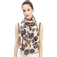 Lina & Lily Day of the Dead Sugar Skull Print Large Scarf Shawl Lightweight