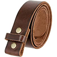 BS001 Vintage Genuine Leather Belt Strap Without Slot Hole 1.5""