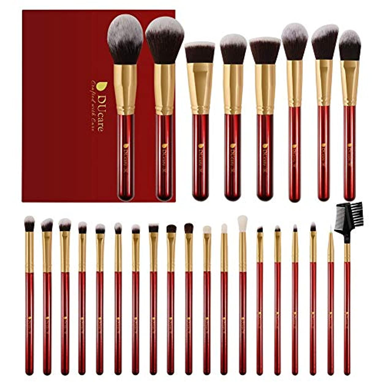 ノミネート煩わしい実験的DUcare ドゥケア メイクブラシ 27本セット 化粧筆 フェイスブラシ PBT毛&天然毛 (赤) 同シリーズでブラックあり