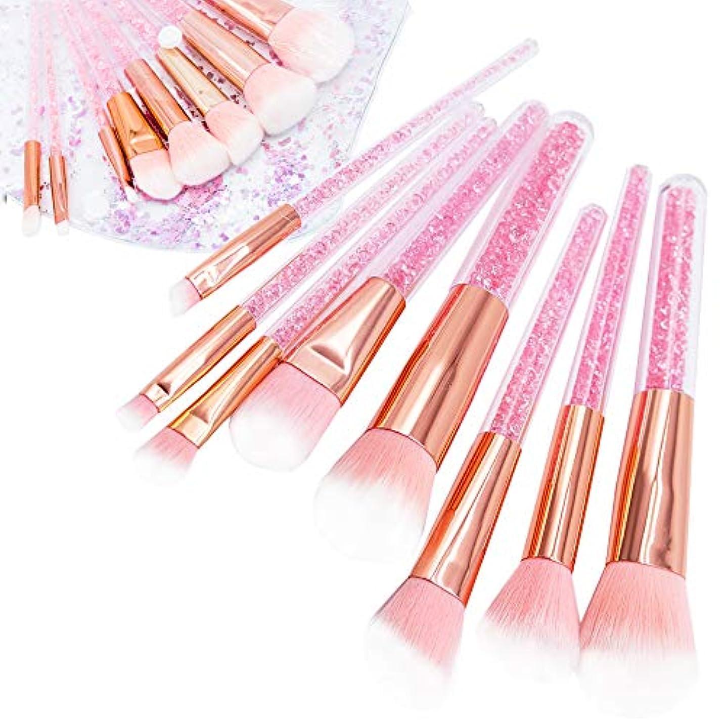数字逆にぴかぴかUrban frontier メイクブラシ 化粧筆 可愛いピンク 8本セット 化粧ポーチ付き 携帯便利 敏感肌適用
