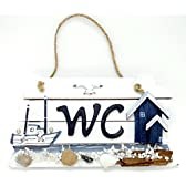 """トイレ サイン """" WC """" 船と海辺の小屋 フック付き"""