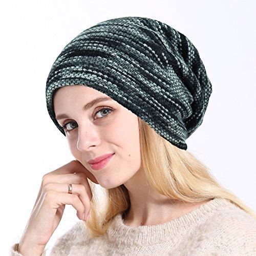 プレカルセ(PIULOU)帽子 レディース 秋冬 ニット帽子 裏起毛 暖かい 厚手 防寒 男女兼用 (グレー)