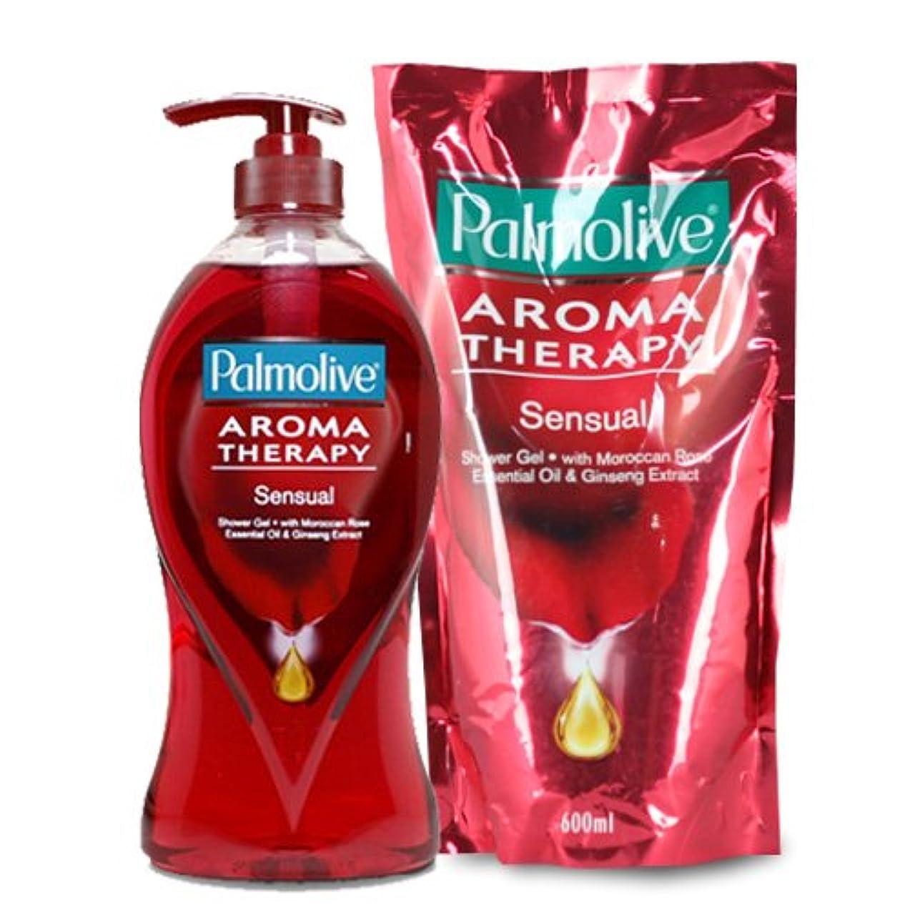 安心驚かす【Palmolive】パルモリーブ アロマセラピーシャワージェル ボトルと詰め替えのセット (センシャル)