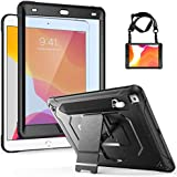 ProCase iPad 7th Generation Case, Full-Body Shock-Proof Protective Rugged Case for iPad 10.2 2019 with Built-in Screen Protector, Pencil Holder, Hand and Shoulder Strap and Kickstand -Black
