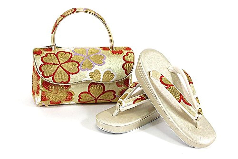 紗織謹製 草履バッグセット 23.0cm 金 銀 レディース