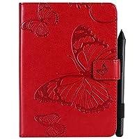 MyCase AmazonのKindleのPaperwhite 4(第10世代-2018)6.0インチの蝶の花の花柄のPUレザー財布スタンドタブレットケース (Color : 赤)