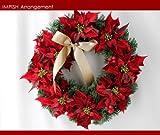 人気 クリスマスリース 40cm 造花 飾り ポインセチア クリスマス リース W-169