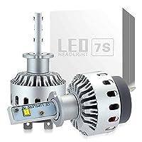 e-auto fun 車検対応 H3LED ヘッドライトワンタッチ取付CREE製 XHP50 LEDチップ搭載 8000LMX2 40WX2 6000K DC12V-24V ホワイト 2個セット 一年保証付き LM7S0002 (H3)