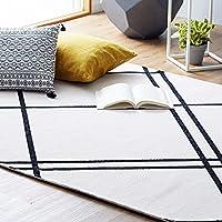 LOWYA (ロウヤ) ラグ 絨毯 カーペット ベニワレン風 床暖房対応 ホットカーペット対応 手洗い可能 M 幅185x奥行185cm ライン