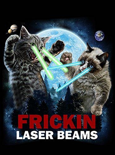 【目からビームを出す猫の決闘】 ポストカード・はがき(黒背景)