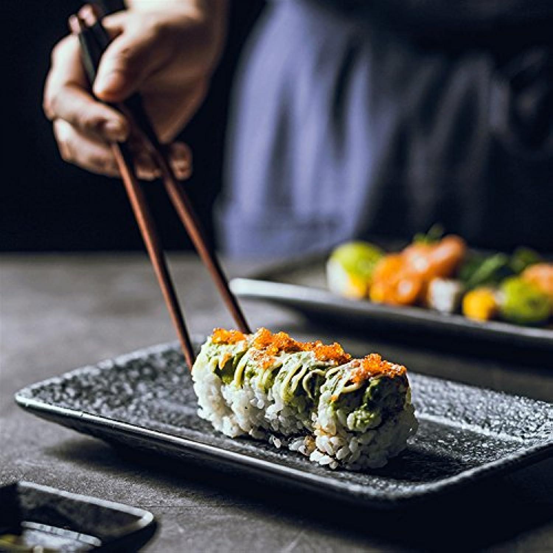 housewaresstore- 日本の矩形蛇型プレートセラミックプレート寿司プレートデザートプレートレトロフラットプレート和風食器7インチプレート plate (色 : Black)