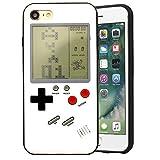 Bestmaple ゲームボーイ 風 iPhone ケース 実際に遊べるレトロゲームを多数内蔵 テトリス バトルシティー シューティング フロッガー インベーダー ビデオゲーム 液晶 ドットゲーム レトロ スマホケース スマートフォン (iPhone XR, ホワイト)