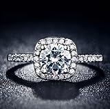 ホワイトゴールドフィルド ジルコニアリング 【豪華ジュエリーケースつき】 wedding ring CZ diamond white gold (USサイズ5号)