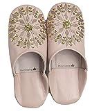 モロッコ バブーシュ mocororo luxe (レディース)本革 刺繍 スパンコール ルームシューズ スリッパ babouche レディース,Beige
