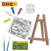 ETI Toys | 11ピース キッズアートペイントセット 木製イーゼル 野生動物テーマキャンバス 4色アクリルペイント 2ペイントブラシ パレット! アーティストのアートスタジオ 6歳以上