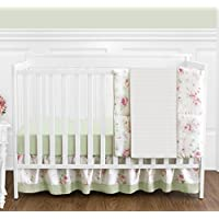 Riley's Roses Pink and Sage Green Shabby Chic Floral Baby Girl Flower Bedding 4 Piece Crib Set Without Bumper [並行輸入品]