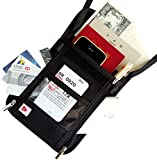 SmartTravel パスポートケース 首下げ スキミング防止 旅行便利グッズ ポーチ (1. ブラック ケース)